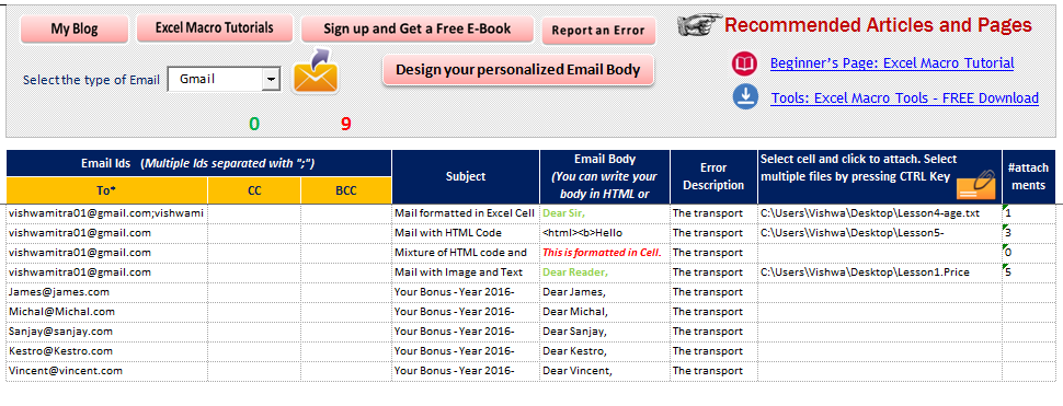 Send Multiple Personalized Email - Excel Tool